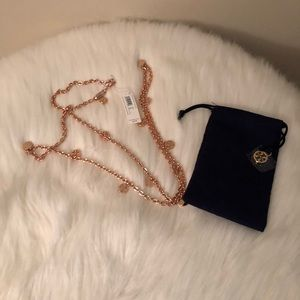 NWT Rose Gold Tory Burch Logo Necklace